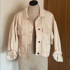 Cream utility denim jacket
